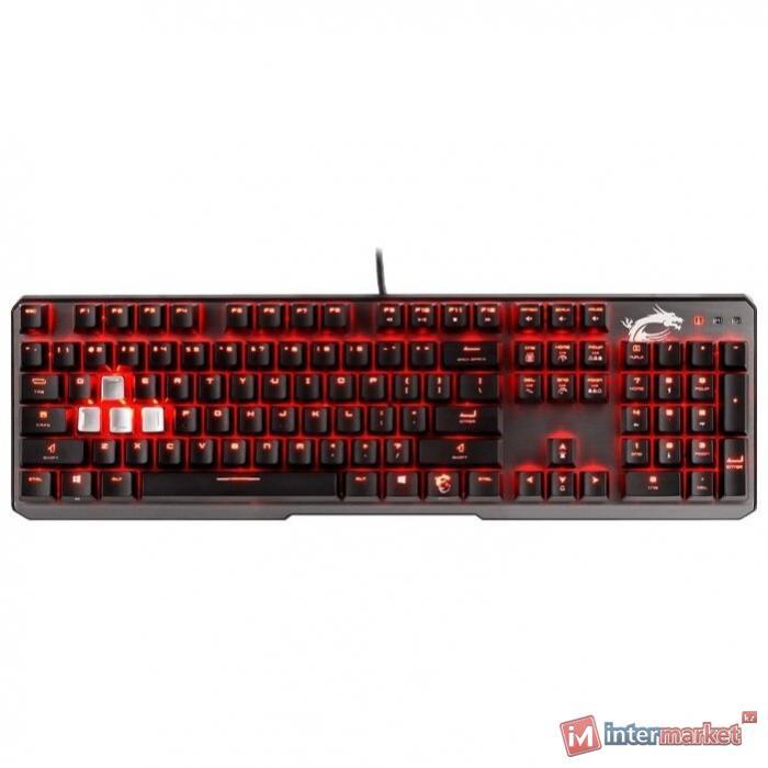 Игровая Клавиатура MSI Vigor GK60 CR RU USB 2.0/104клавиши/переключатели CHERRY MX Red/кабель 2м/вес 1050г.